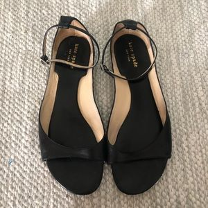 KATE SPADE Black Leather Ankle Strap Sandals